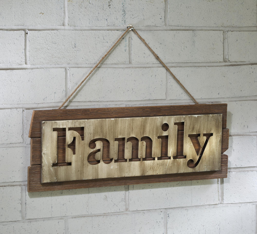 Brushed Silver Family Decor on Wood Plank (Wall Decor)