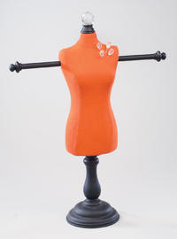 Burnt Orange Fabric Body Form with Arms  (Jewelry Displays)