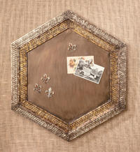 Hexagon Memo Board & Tray  (Wall Decor)