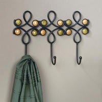 Metal Wall Hook with Stones  (Hooks)