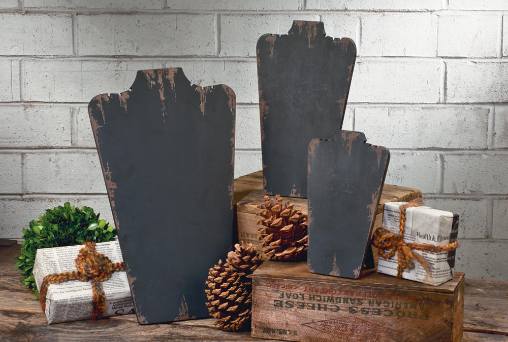 Shabby Black Wooden Neck Forms