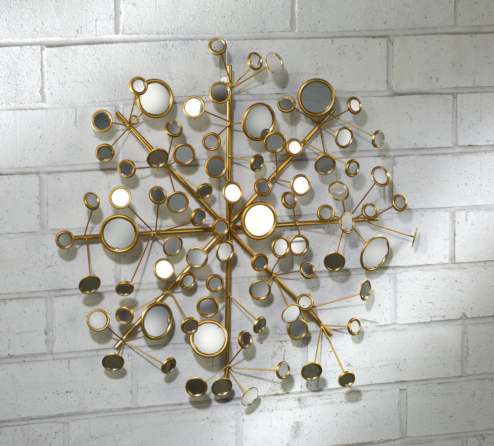 Snowflake Multi-Facet Mirror Wall Art (Wall Decor)