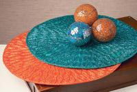 Teal and Orange Place Mats & Crackle Glass Balls  (Home Accents & Candle)