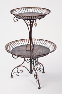Two Tier Bronze Basket Stand  (Tables & Furniture)