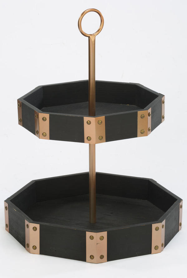 2-Tier Black/Rose Gold Octagon Display