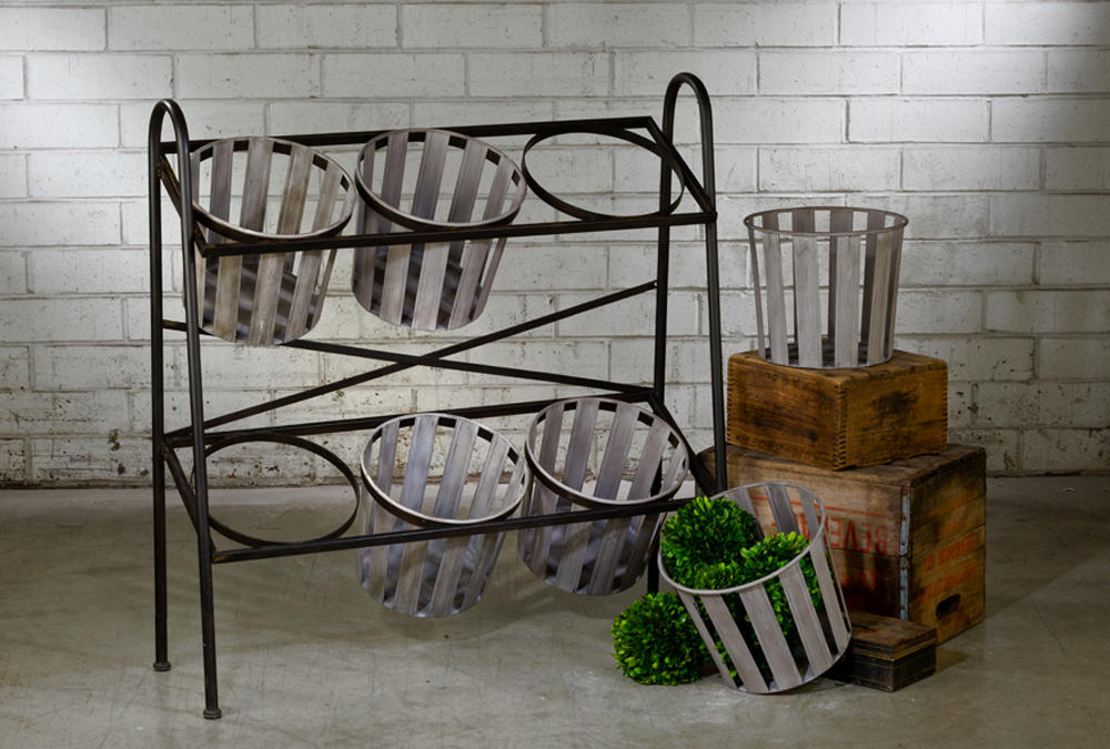 2-Tier Iron Display w/ Removable Baskets (Shelves)