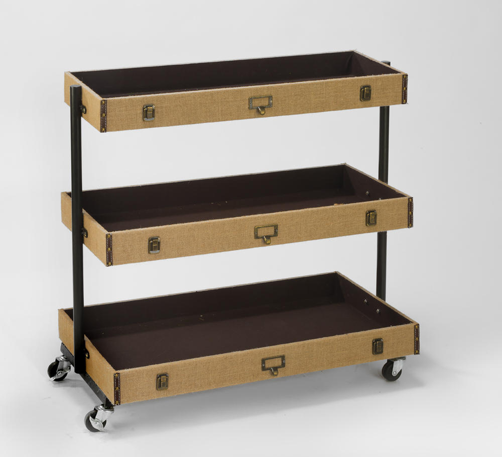 3-Tier Burlap Library Cart - Wide (Shelves)