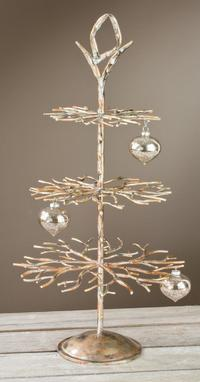 "3 Tier Gold Metal Designer Tree  (Our magnificent 3 Tier Designer Tree has a vast amount of hanging positions to display products. Perfect for ornaments, jewelry, crystals, sun catchers, or key chains. Our display tree is 28""h with Brushed Gold and hand applied accents. Hanging height levels between branches range from 6-7"".)"