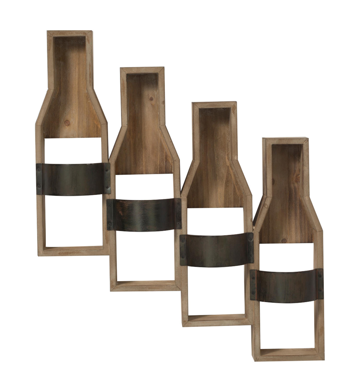 4-Place Wood and Metal Band Bottle Holder (Wall Decor)