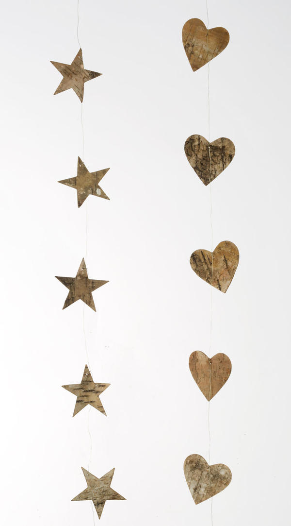 Bag/6 Natural Bark String of Stars or Hearts