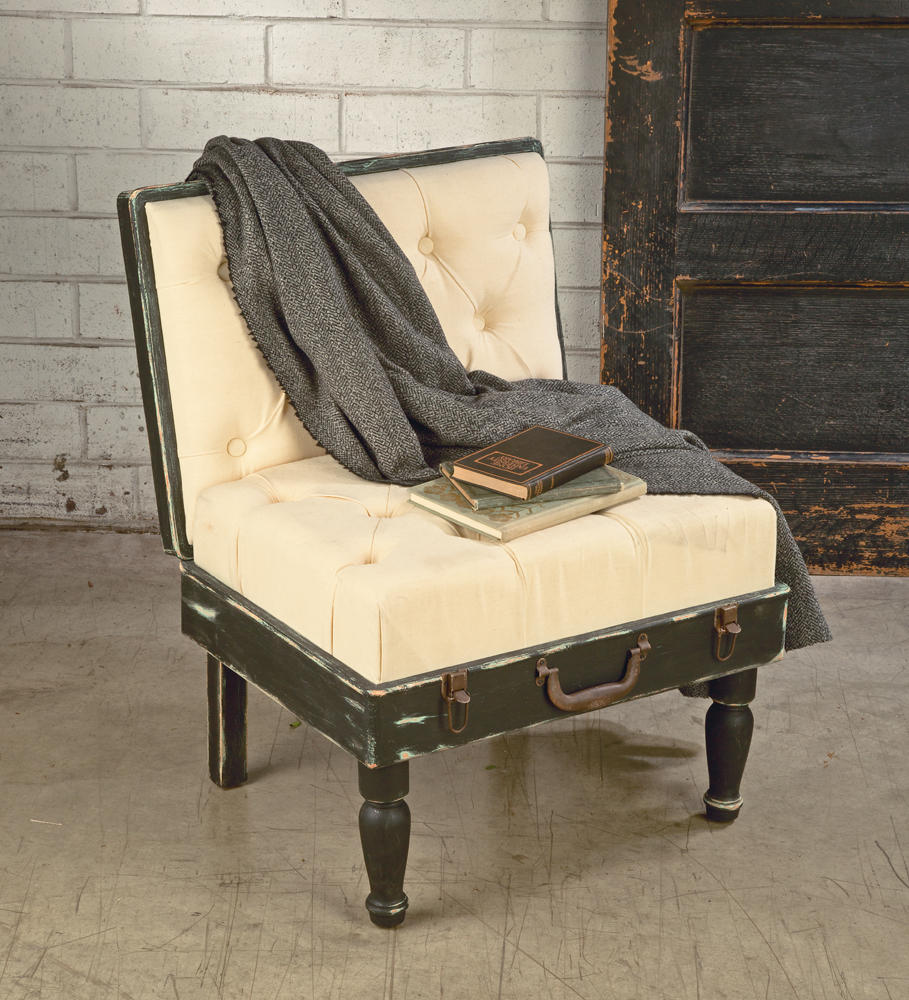 Black & Cream Padded Suitcase Chair    (Tables & Furniture)