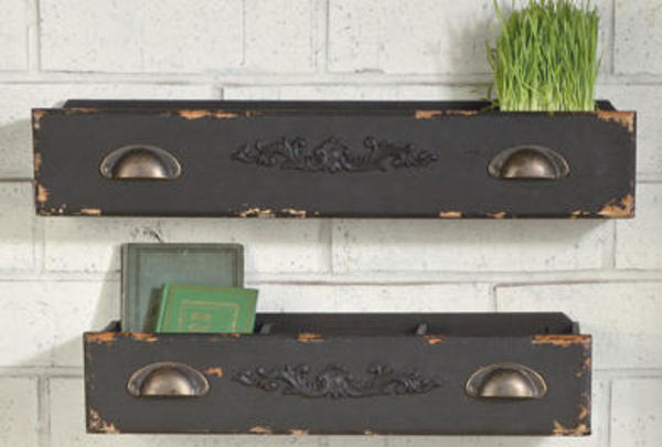 Black Wooden Drawer Shelf