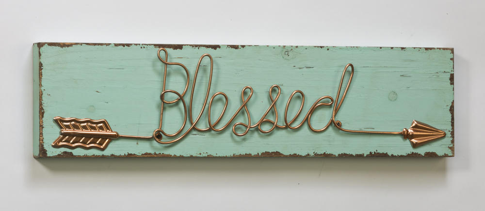 """Blessed"" Arrow-Detail Wooden Sign (Wall Decor)"
