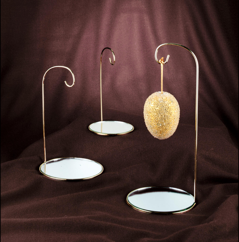 Brass ornament stand - Brass Finish Wire Ornament Stand W Mirror Base Ornament Stands