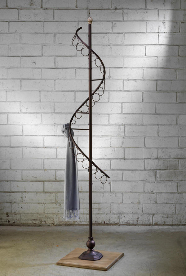Bronze Scarf Tree with Wood Base