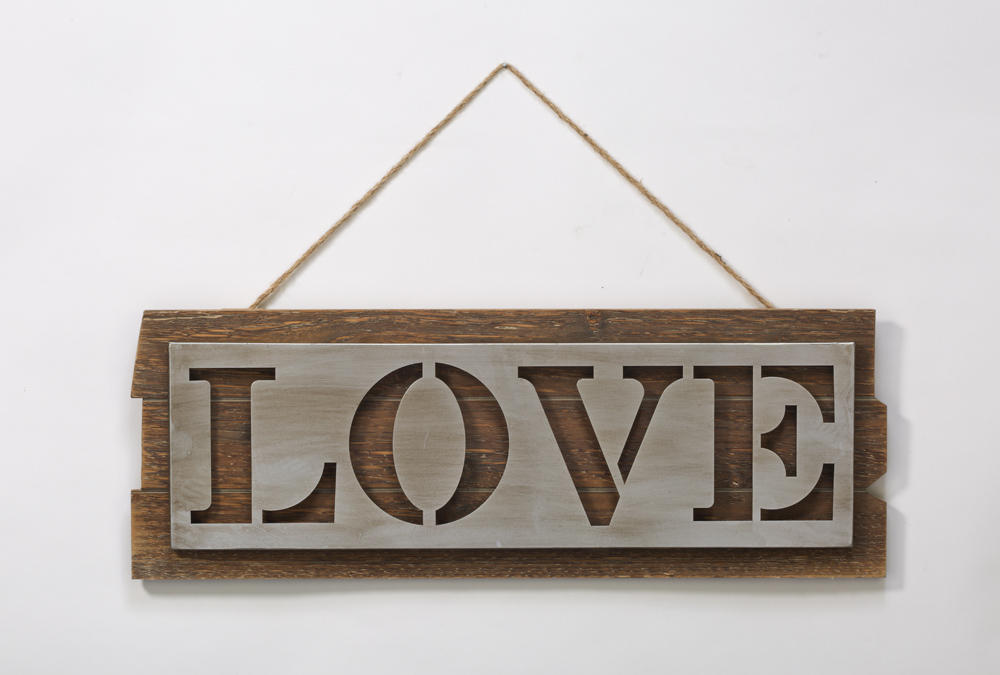 Brushed Silver Love Decor on Wood Plank  (Wall Decor)