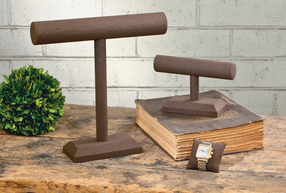 Chocolate Jute T-Bar Stands & Watch Pillow  (Jewelry Displays)