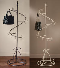 "Classic Spiral Purse Trees  (This value added tree works great for displaying purses and handbags.  74"" Tall with 15 hooks. Hollow tube construction base makes it lightweight and easy to move around.  some assembly required.)"