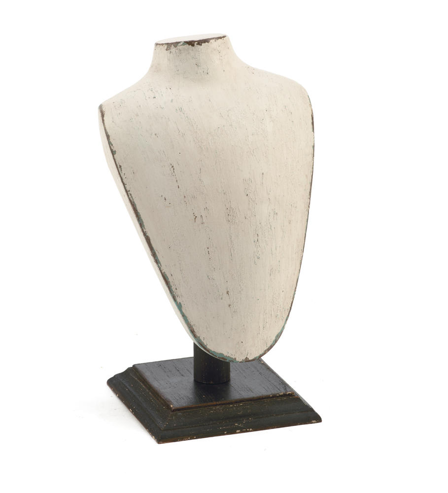 Cream Wooden Neck Form with Black Base (Jewelry Displays)