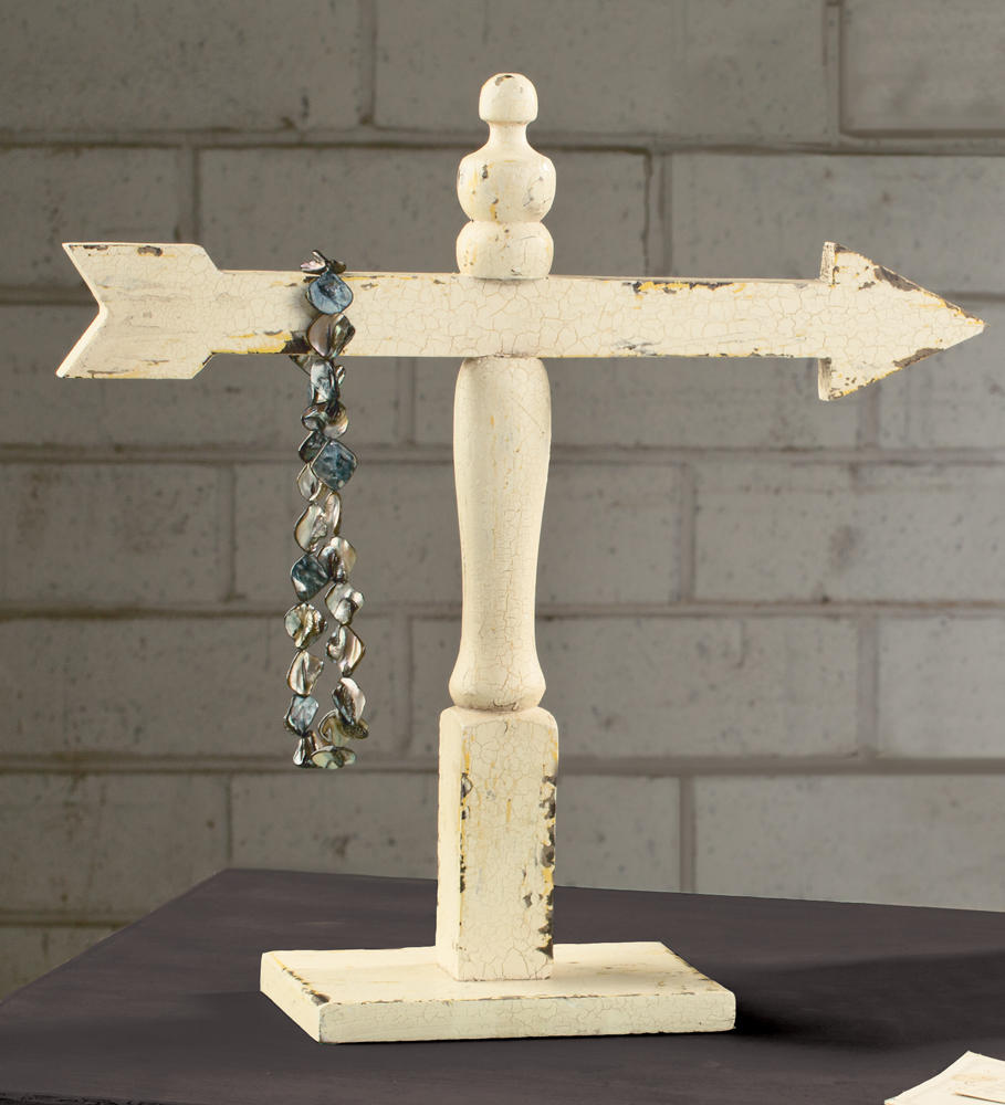 Distressed White Arrow Stand (Jewelry Displays)