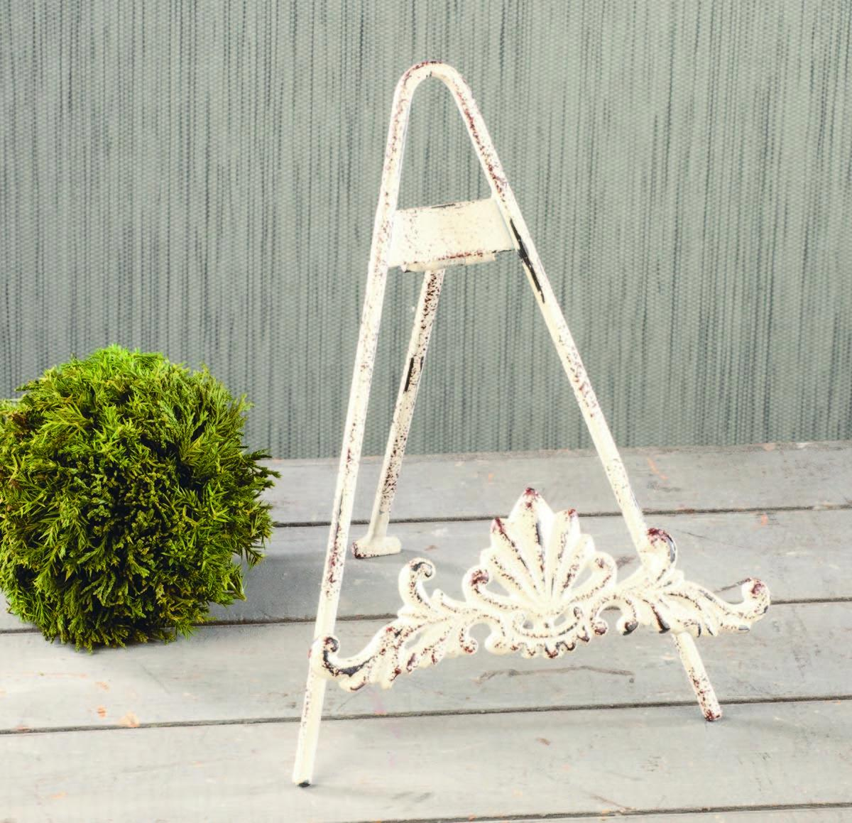 Distressed White Easel with Cast Design  (Easels (Tabletop))