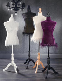 "Elegant Dress Forms  (These unique Dress Forms will flawlessly accent any fashion product.  Dresses, shirts, scarves, jackets, jewelry, the possibilities are endless.  All three forms are adjustable in height, 49""-64"", and feature a Styrofoam core which can support pins for attaching items to the body itself.  The black and purple Dress Forms feature velvet fabric and the cream Dress Form is made of a cotton blend fabric.    The Styrofoam core is lightweight, the attachable base is packed knock down to save on shipping costs. Some Assembly Required.)"
