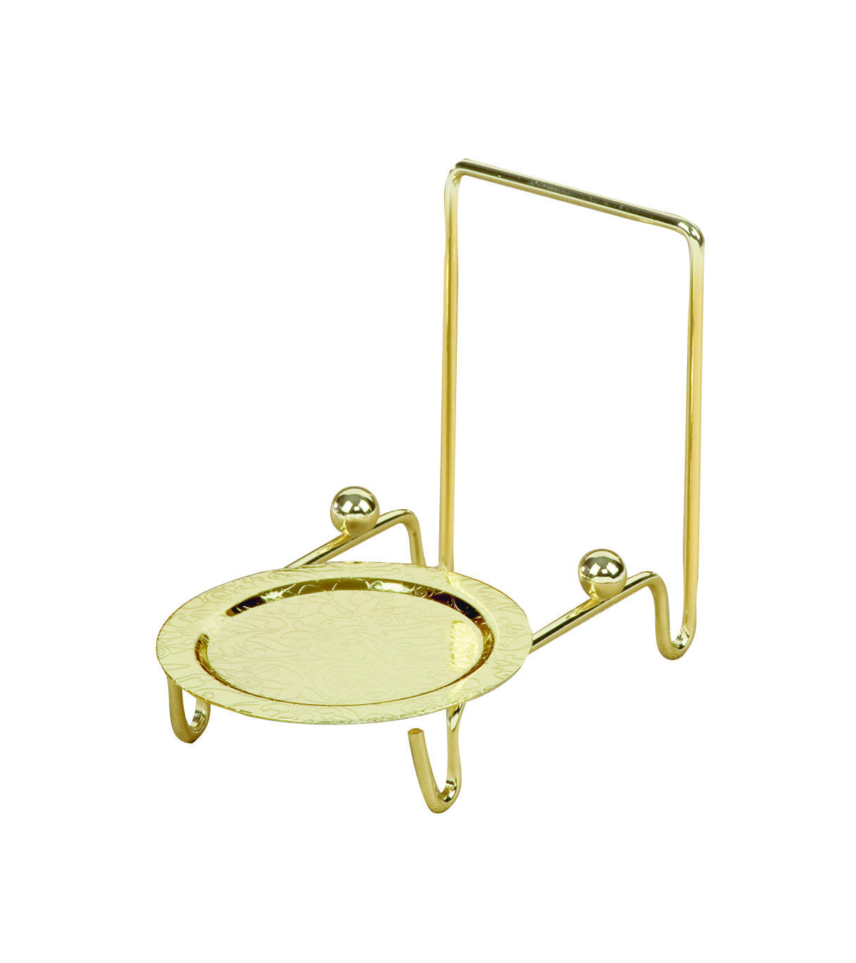 Etched Base Brass Finish Cup & Saucer Stand (Cup & Saucer)