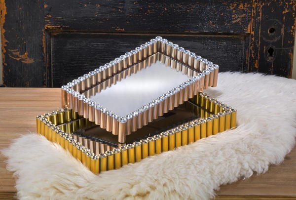 Gold Acrylic Bling Bead Vanity Tray