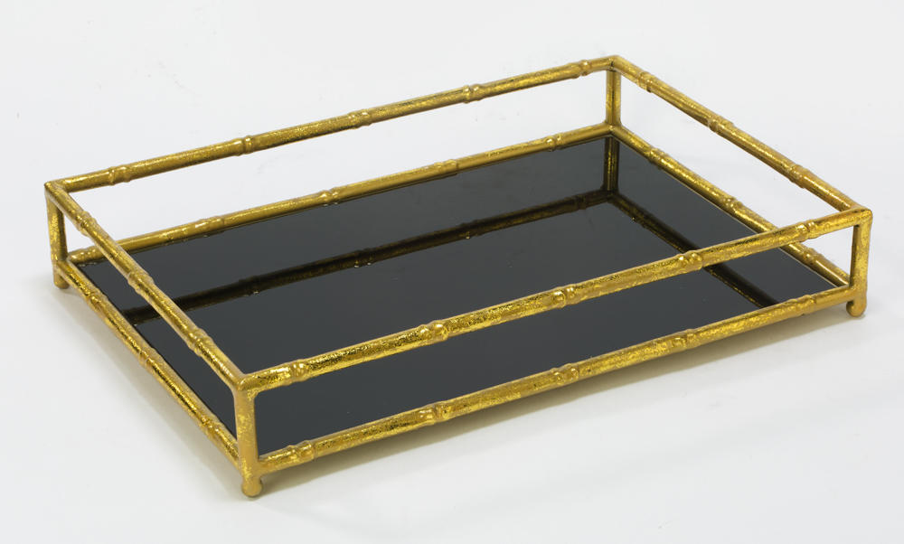 Gold Frame & Black Glass Vanity Tray (Home Accents)