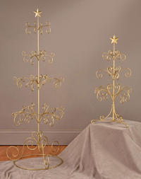 Gold Ornament Regent Tree (Our Gold Painted Regent Ornament Trees are topped with a star finial. They're a great way to display decorative ornaments and garland around the holidays. Also serves as a great display accessory or can be used as a jewelry tree. Can embellish any wedding or event by serving as a centerpiece. Some Assembly Required.)