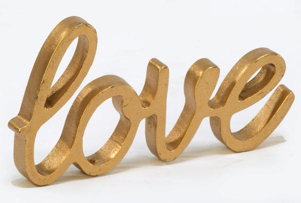 Gold Painted Pewter Paperweight LOVE