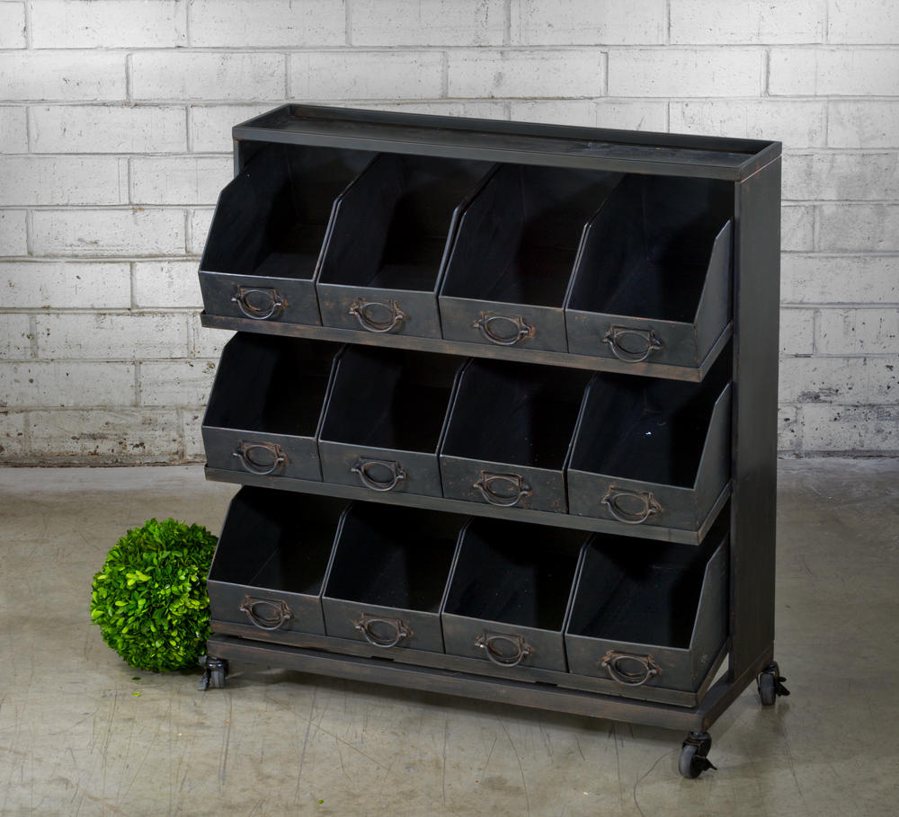 Industrial Black Iron 12-Bin Shelf  (Shelves)