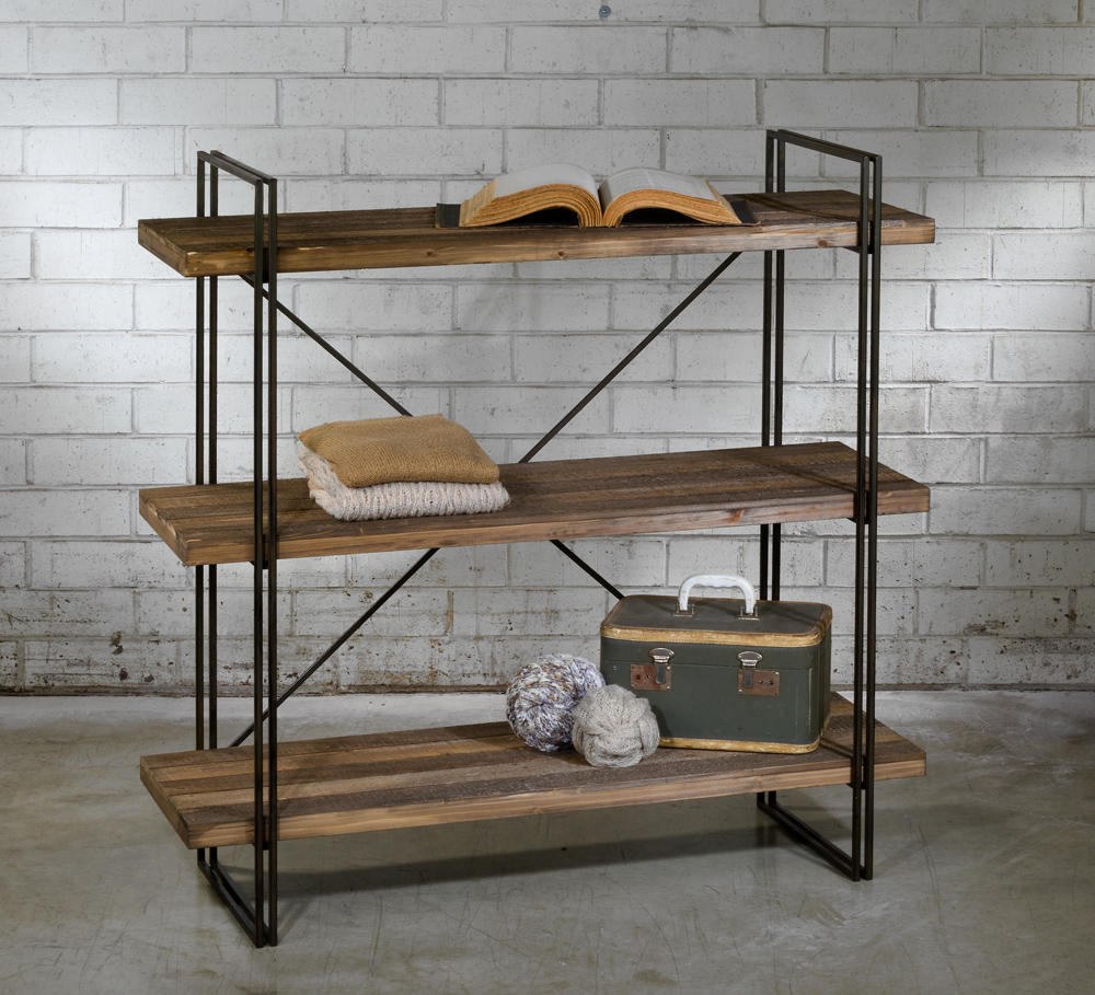 Large 3-Tier Raw Wood & Metal Shelf (Shelves)