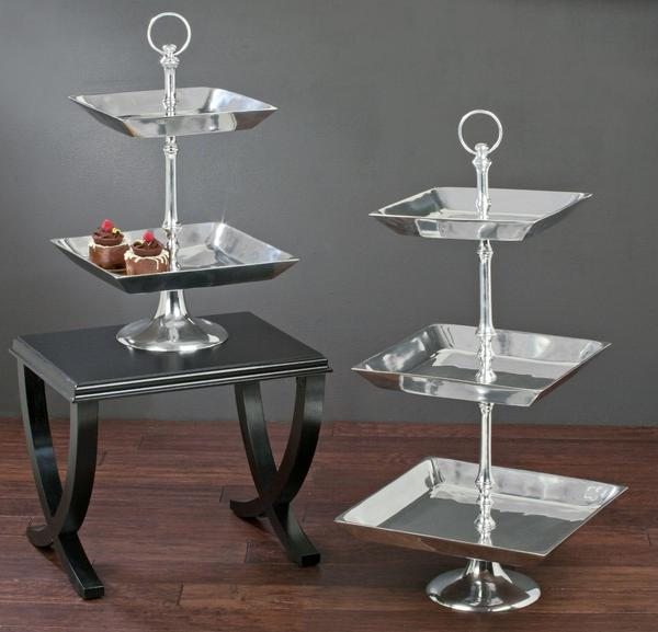 Large Tiered Aluminum Tray Stands