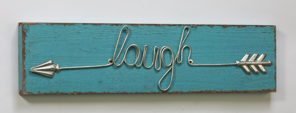 """Laugh"" Arrow-Detail Wooden Sign (Wall Decor)"