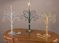 Ornament Trees   (12 arm ornament table-top trees are classic pieces. With removable tops- Star finial or Ball finial. Available in three finishes- Gold, Silver, or Dark Green. Perfect for displaying ornaments or functions great as a jewelry display tree.)