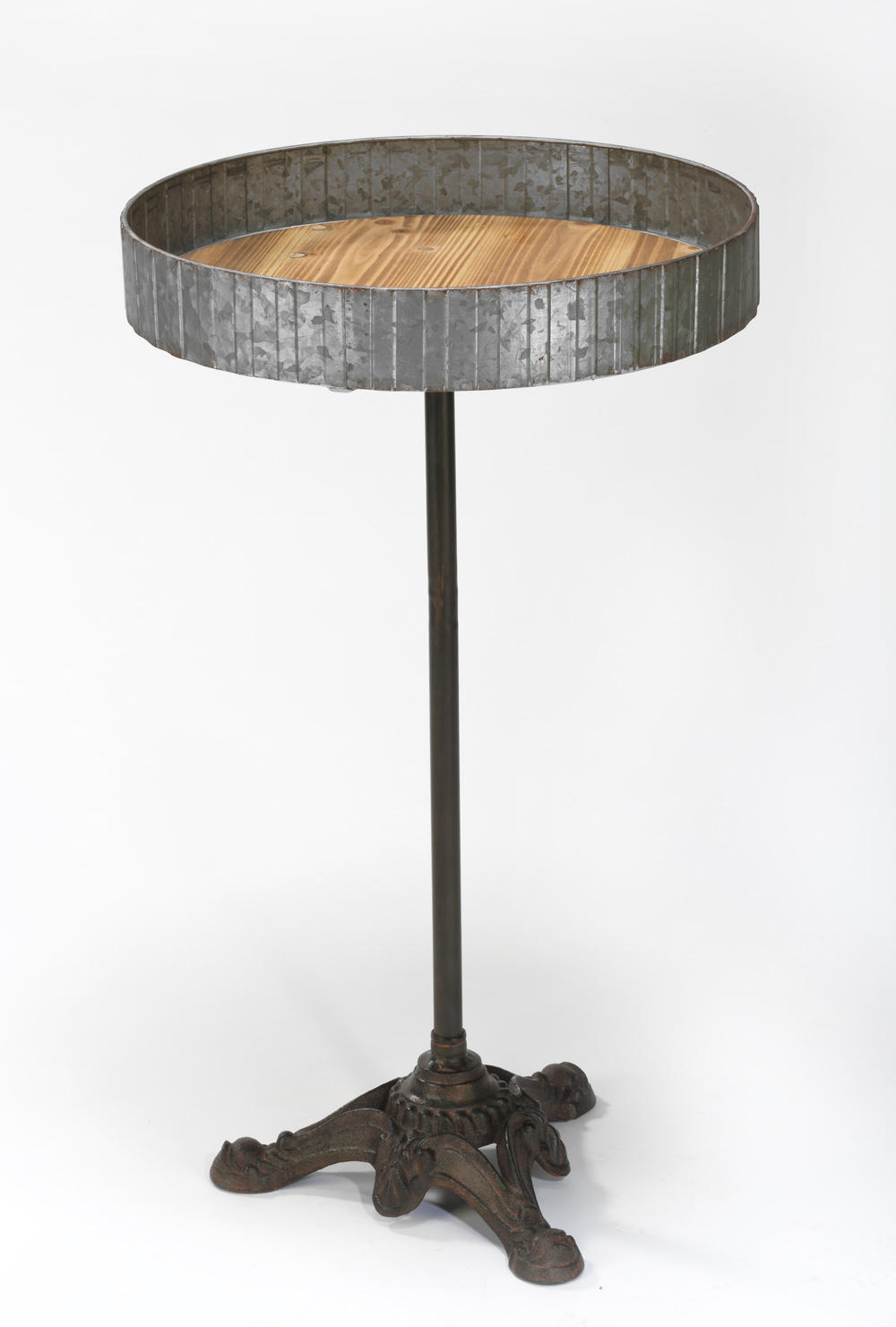 Raw Metal and Wood Table w/ Iron Stand (Tables & Furniture)