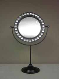 Round Swivel Boutique Mirror  (Boutique Mirror Stand with a black finish.  Easily swivels into almost any position. Features a lovely frame of clear acrylic beads.)