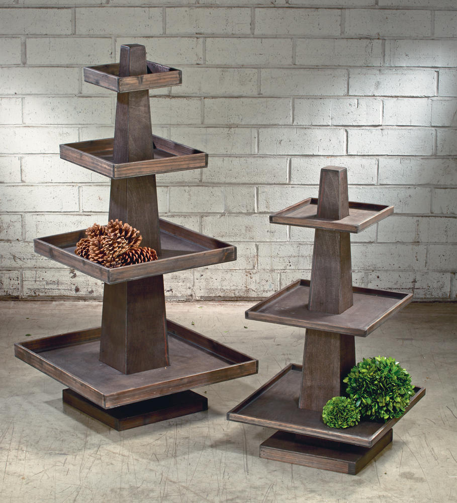 Rustic Wooden Tray Towers (Tiered Displays & Platforms)