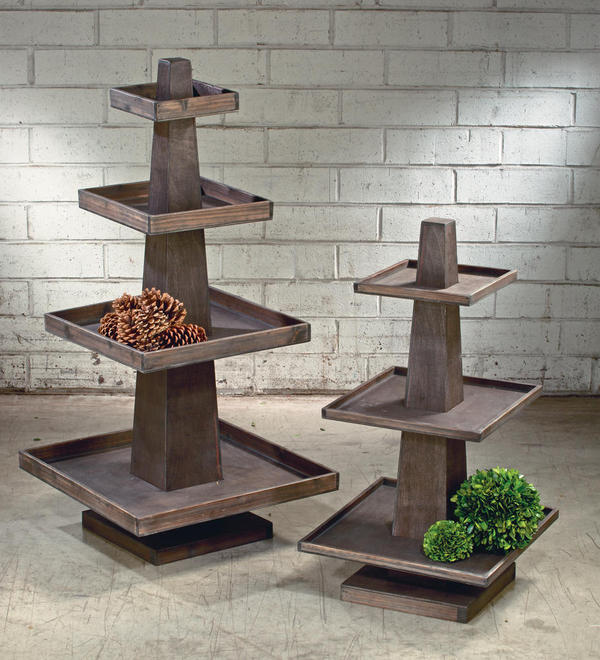 Rustic Wooden Tray Towers