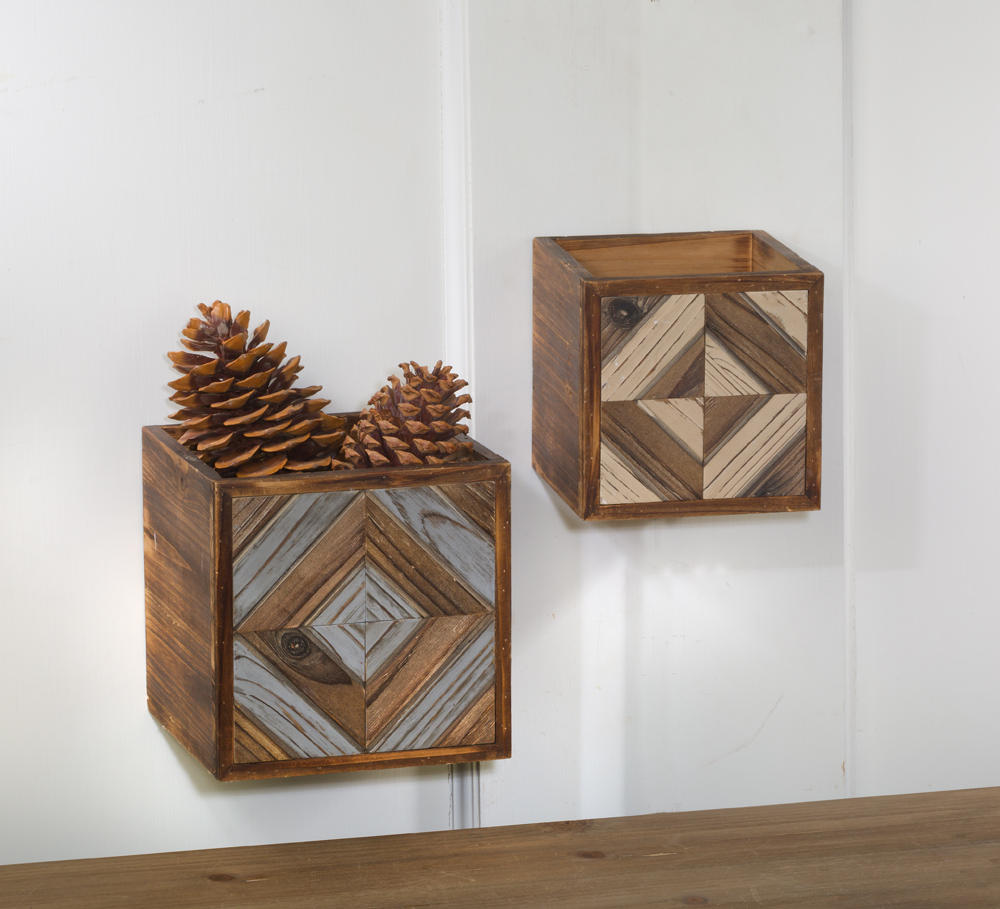 Set/2 Geometric Open Boxes (Wall Decor)