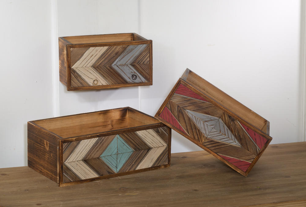 Set/3 Geometric Open Drawers (Wall Decor)