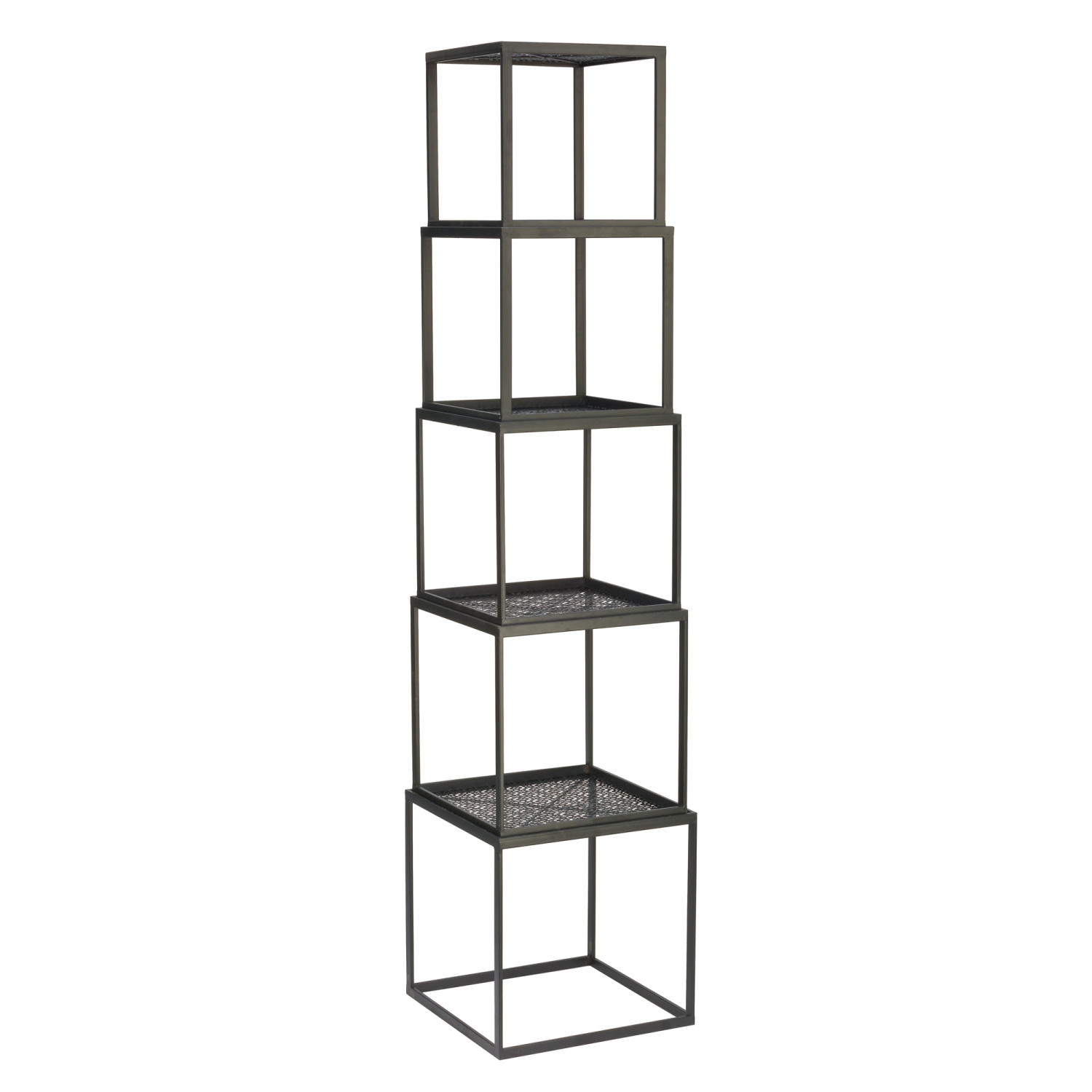 Set/5 Metal Stackable Black Cubes  (Risers)