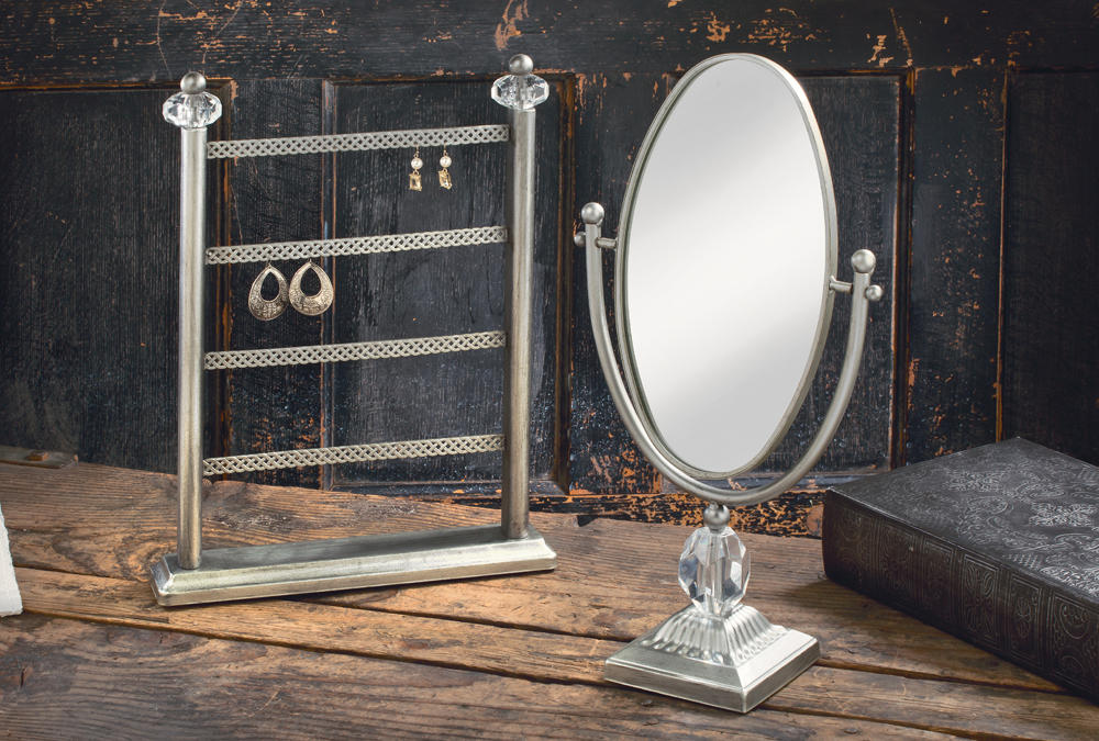 Silver Earring Stand & Oval Vanity Mirror (Jewelry Displays)