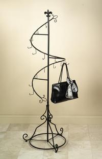 Spiral Purse Tree (Dark Brown Metal Spiral Tree great for displaying purses, scarves, shawls, wind chimes, etc.)