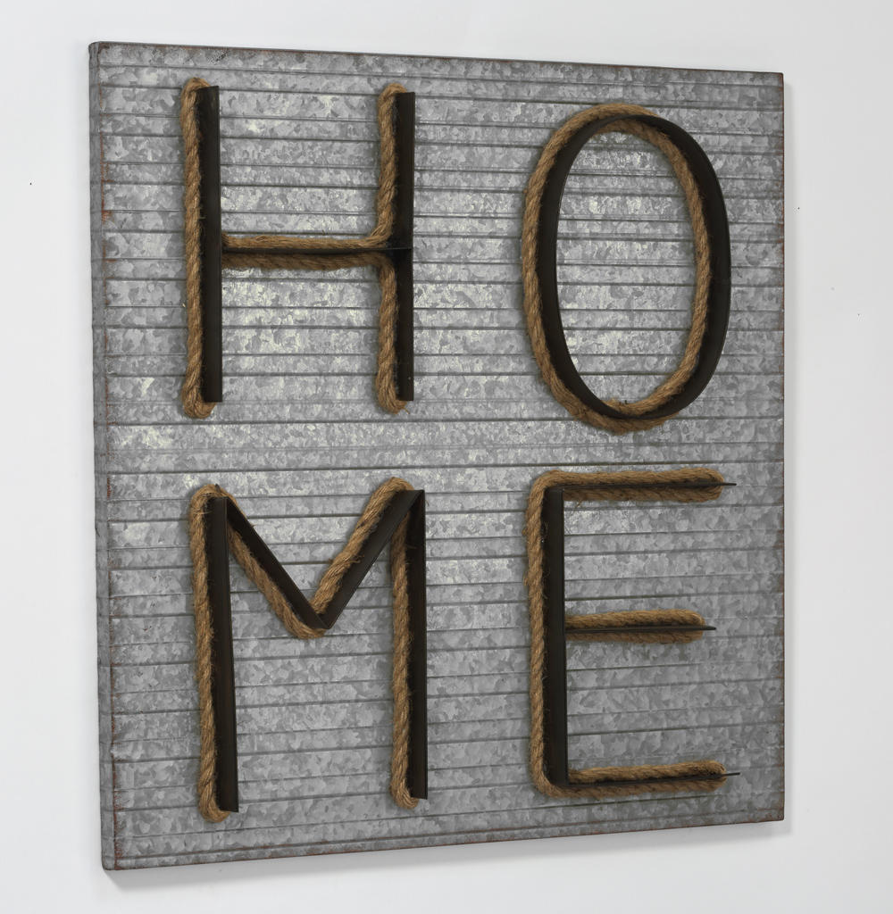 "Square Tin ""HOME"" Wall Sign (Wall Decor)"