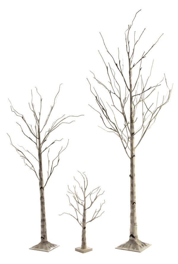 White Birch LED Lighted Trees & Snowflake