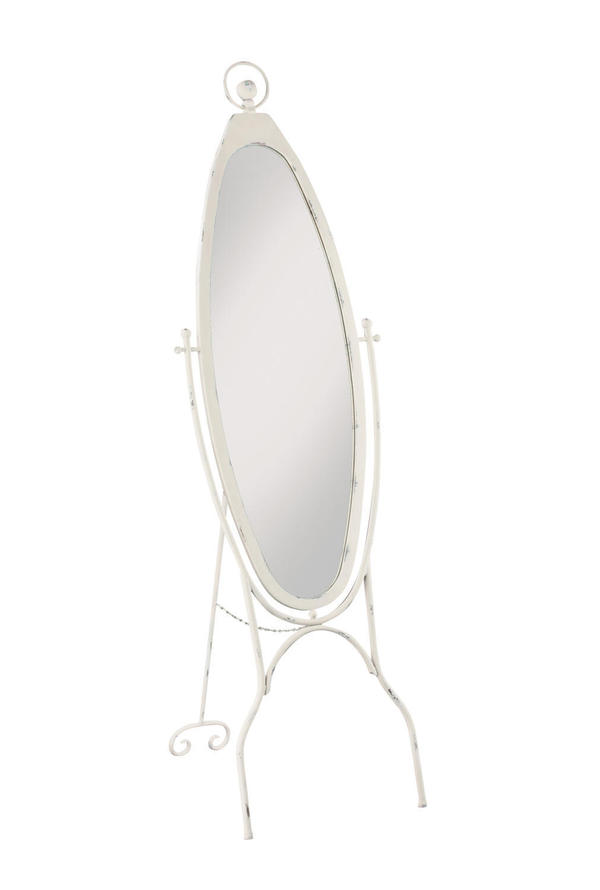 White Oval Floor Mirror