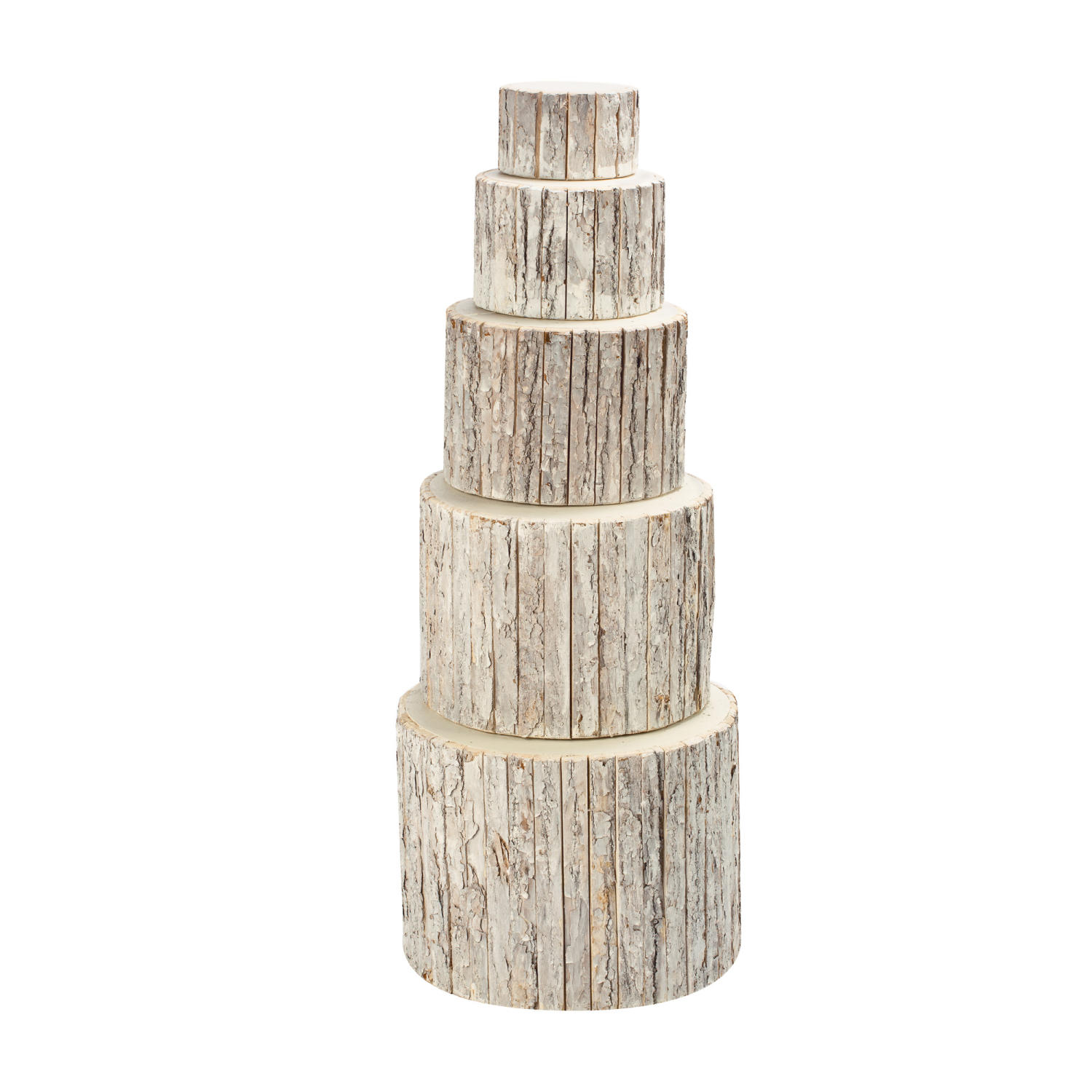 Whitewash Bark Wrapped Risers  (Tiered Displays & Platforms)
