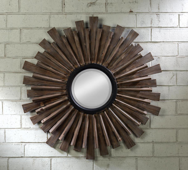 Wood Wall Decor W/Mirror